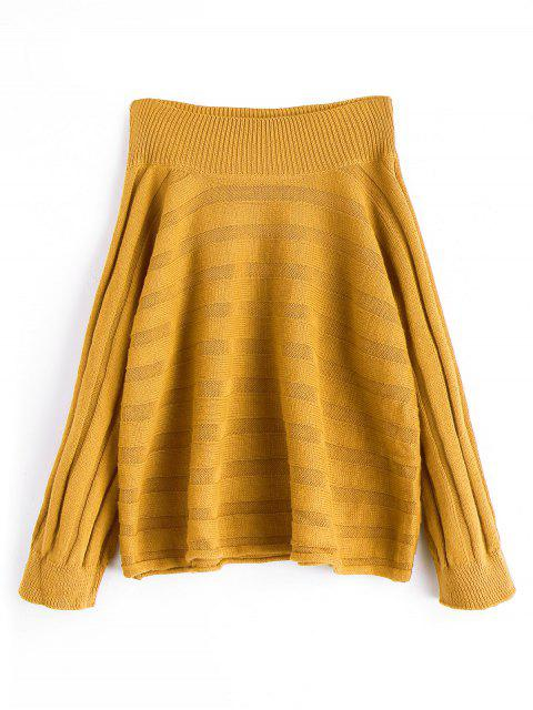 trendy Oversized Off Shoulder Pullover Sweater - MUSTARD ONE SIZE Mobile