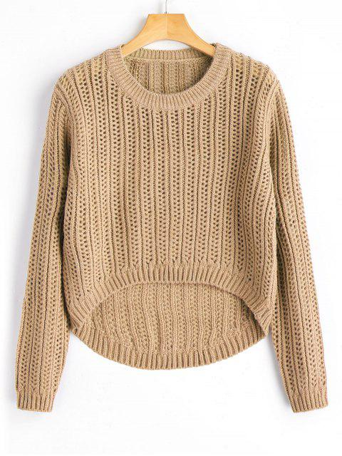 fancy Sheer High Low Pullover Sweater - KHAKI ONE SIZE Mobile
