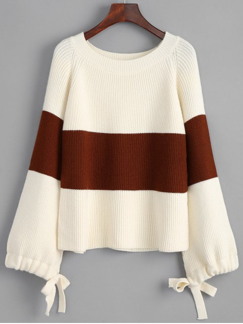 latest Bow Tied Sleeve Two Tone Pullover Sweater - WHITE ONE SIZE Mobile