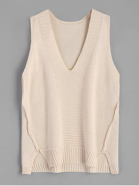 sale V-neck Sweater Vest - APRICOT ONE SIZE Mobile