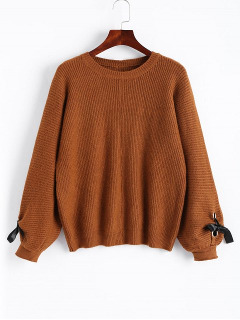 buy Lantern Sleeve Bowknot Pullover Sweater - LIGHT BROWN ONE SIZE Mobile