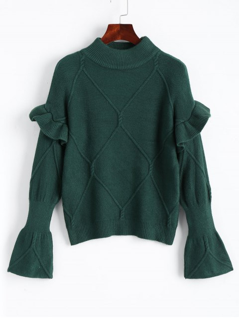 ladies Mock Neck Ruffles Pullover Sweater - DEEP GREEN ONE SIZE Mobile