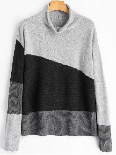best Color Block Cowl Neck Sweater - GRAY ONE SIZE Mobile