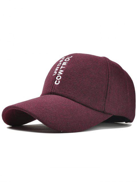 ladies Vertical Letter Embroidery Graphic Hat - WINE RED  Mobile