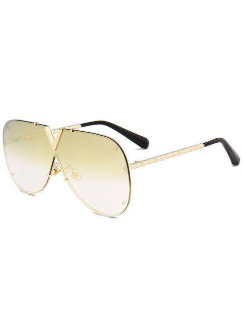 Lunettes de soleil en forme de V en plein air à monture en métal - Or +  Luxueux Or Couleur  Mobile