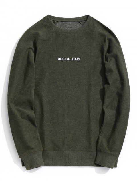 outfits Letter Crew Neck Sweatshirt - ARMY GREEN L Mobile