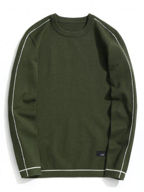 fancy Crew Neck Pullover Sweater - ARMY GREEN 2XL Mobile