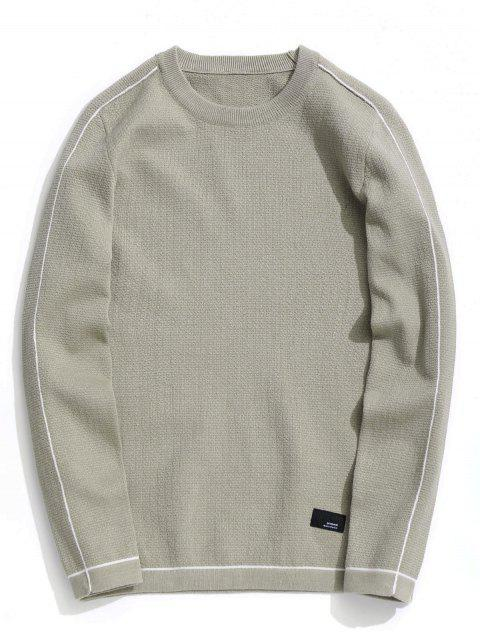 affordable Crew Neck Pullover Sweater - LIGHT KHAKI 3XL Mobile