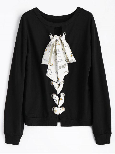 hot Floral Lace-up Crew Neck Sweatshirt - BLACK M Mobile