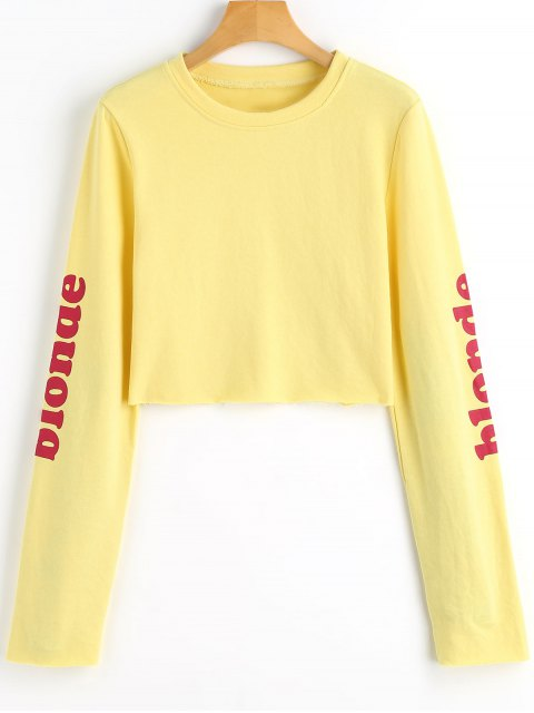 Grafik Blond Crop Sweatshirt - Gelb S Mobile