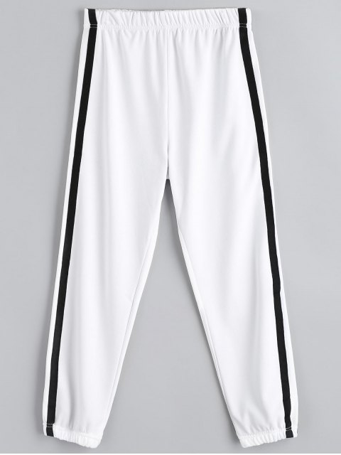 buy Casual Elastic Waist Jogger Pants - WHITE M Mobile