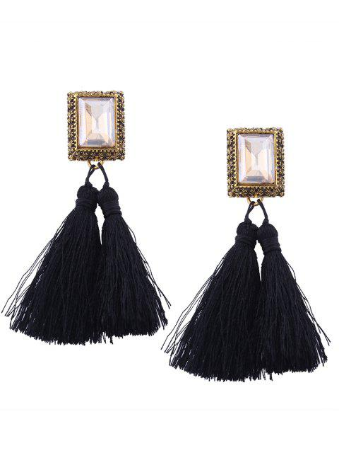 Faux Crystal Tassel Geometric Earrings - Negro  Mobile