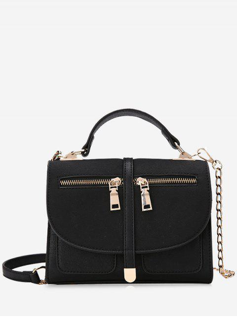 Color Block Front Zips Crossbody Bag - Negro  Mobile