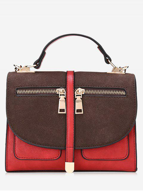 Color Block Front Zips Crossbody Bag - Rojo  Mobile