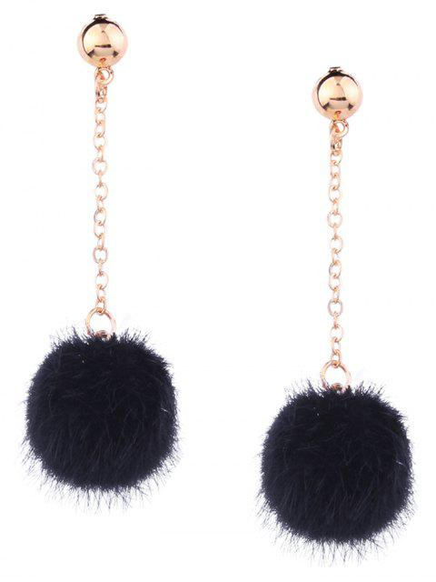 ladies Cute Fuzzy Ball Chain Earrings - BLACK  Mobile