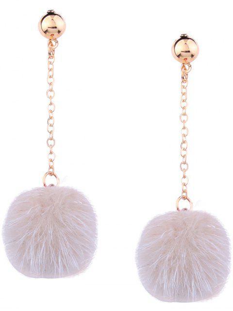 new Cute Fuzzy Ball Chain Earrings - BEIGE  Mobile