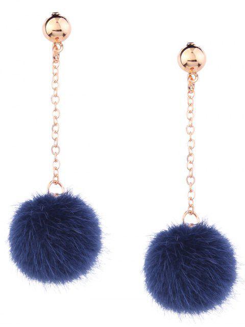 Nette Pelziger Ball Kette Ohrringe - Blau  Mobile