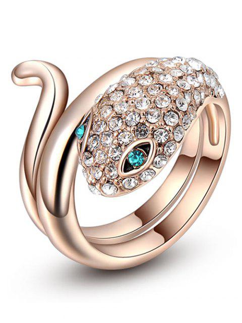 Sparkly Rhinestoned Snake Ring - Dorado 8 Mobile