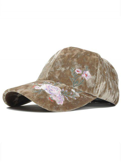 women Outdoor Floral Embroidery Thicken Baseball Cap - KHAKI  Mobile