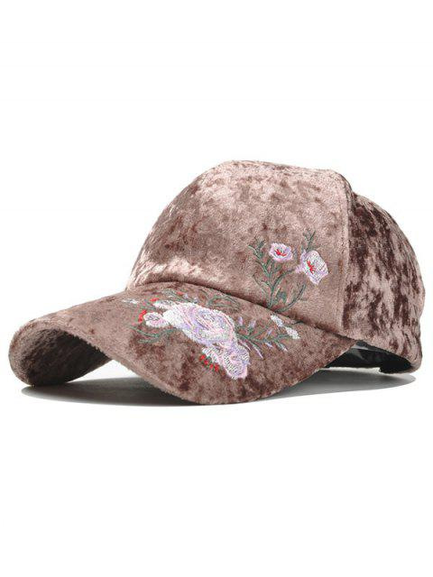 hot Outdoor Floral Embroidery Thicken Baseball Cap - COFFEE  Mobile