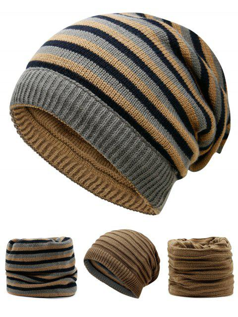 hot Ponytail Hole Embellished Reversible Crochet Knitted Beanie - KHAKI  Mobile