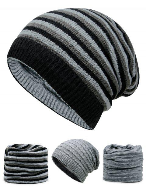 shop Ponytail Hole Embellished Reversible Crochet Knitted Beanie - LIGHT GRAY  Mobile