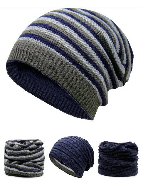 latest Ponytail Hole Embellished Reversible Crochet Knitted Beanie - CERULEAN  Mobile