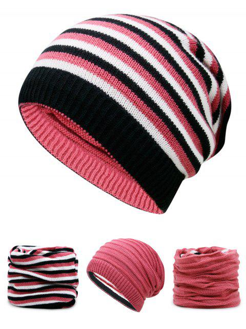 trendy Ponytail Hole Embellished Reversible Crochet Knitted Beanie - WATERMELON RED  Mobile