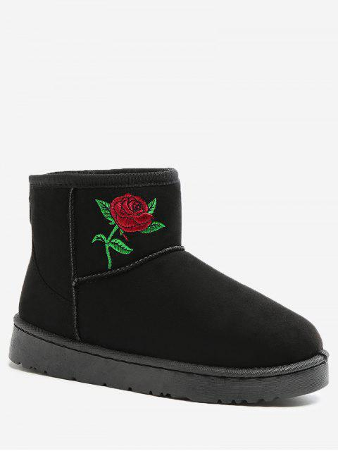chic Floral Embroidery Snow Boots - BLACK 36 Mobile