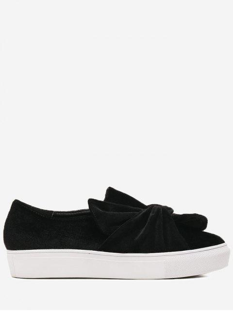 online Cross Twist Front Velour Slip On Sneakers - BLACK 38 Mobile