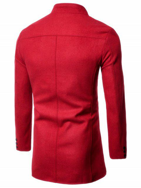 hot Single Breasted Stand Collar Wool Blend Coat - RED 2XL Mobile