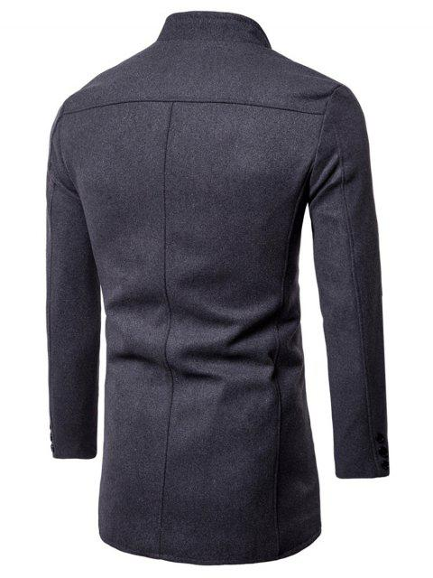 hot Single Breasted Stand Collar Wool Blend Coat - DEEP GRAY XL Mobile