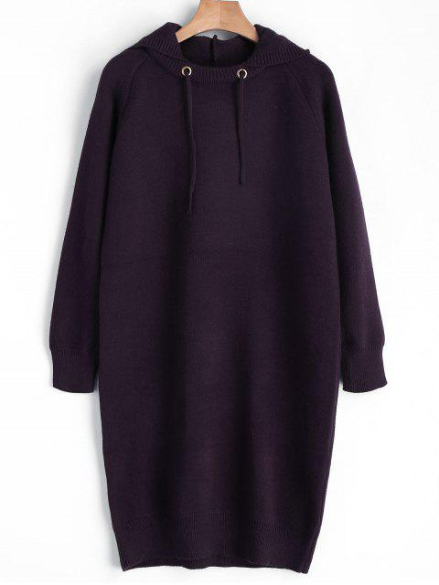 lady Hooded Sweater Dress - PURPLISH RED ONE SIZE Mobile