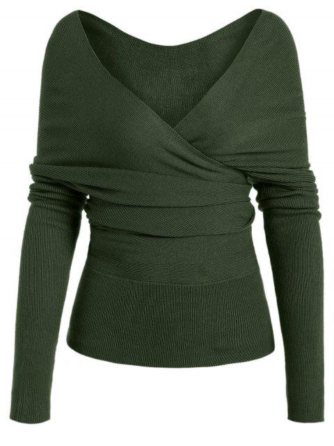 outfits Plunging Neck Surplice Knitted Top - ARMY GREEN M Mobile