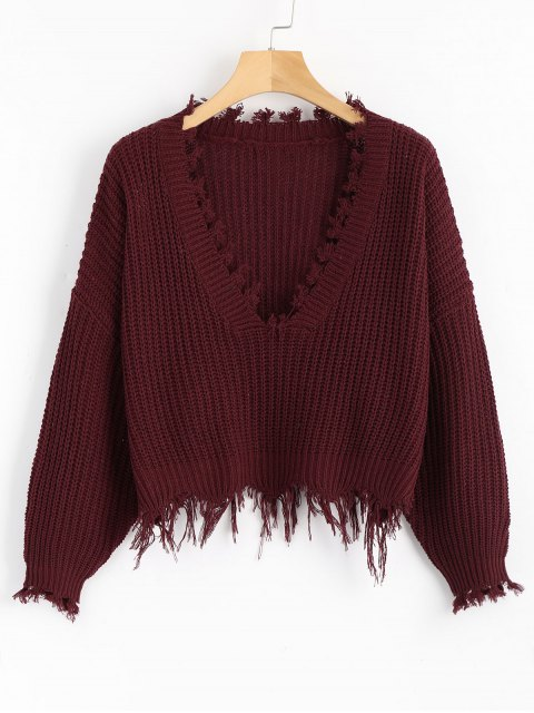 sale Loose Ripped V Neck Sweater - WINE RED ONE SIZE Mobile
