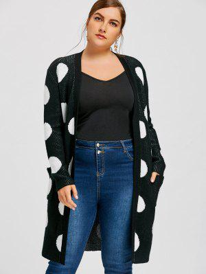 Plus Size Polka Dot Tunic Cardigan