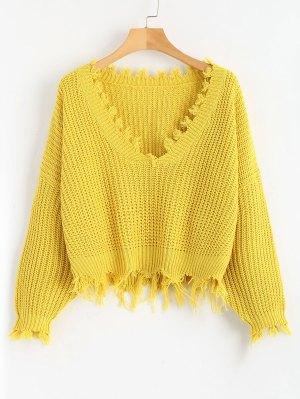 Weiter Gerippter Pullover mit V-Ausschnitt