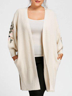 Plus Size Embroidered Lantern Sleeve Long Sweater Coat