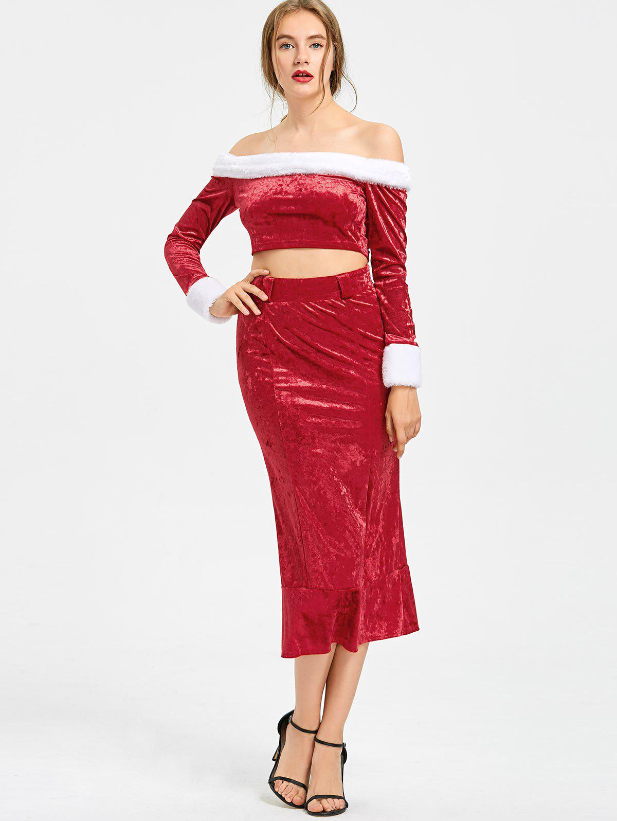 Christmas Off The Shoulder Top with Mermaid Skirt 229921101
