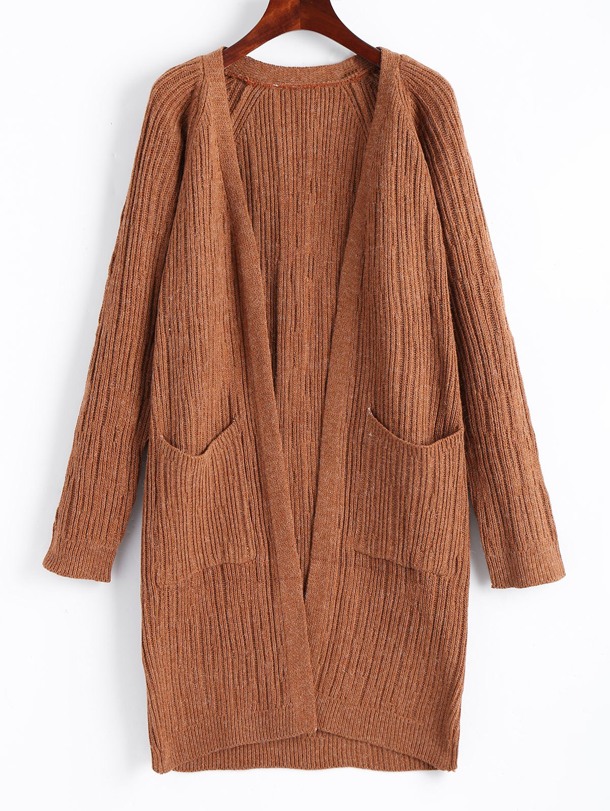 Ribbed Open Front Cardigan with Pockets 233457501