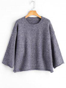 Buy Pullover Rolled Cuff Heathered Sweater - GRAY ONE SIZE