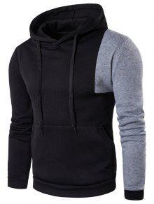 Sweat-shirt à Capuche Irrégulière à Deux Bandes Et Kangourou - Noir M