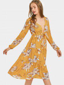 فستان طويلة ألأاكمام غارق الرقبة طباعة الأزهار بخط A - زنجبيل S