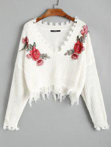 V Neck Frayed Floral Embroidered Pullover Sweater