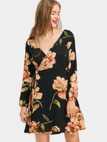 Vestido Largo Con Pliegues Y Plunge Floral - Negro S
