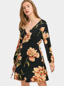 7dc026b12932 34% OFF] 2019 Plunge Floral Long Sleeve Wrap Dress In BLACK | ZAFUL
