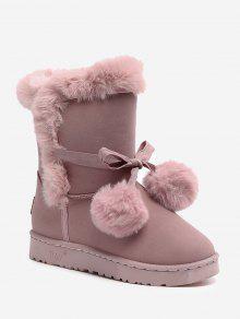 حذاء الثلوج مزين بكرات من الفرو - زهري 39