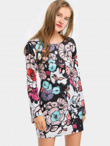 فستان مصغر ضيق طباعة الأزهار ذو فتحات - الأزهار L