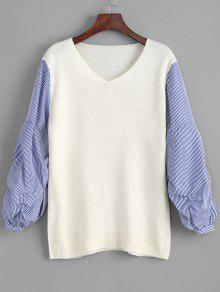 Buy V Neck Striped Sleeve Pullover Sweater - WHITE ONE SIZE