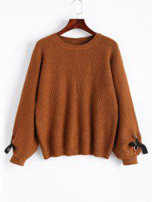 Lantern Sleeve Bowknot Pullover Sweater LIGHT BROWN: Sweaters ONE ...